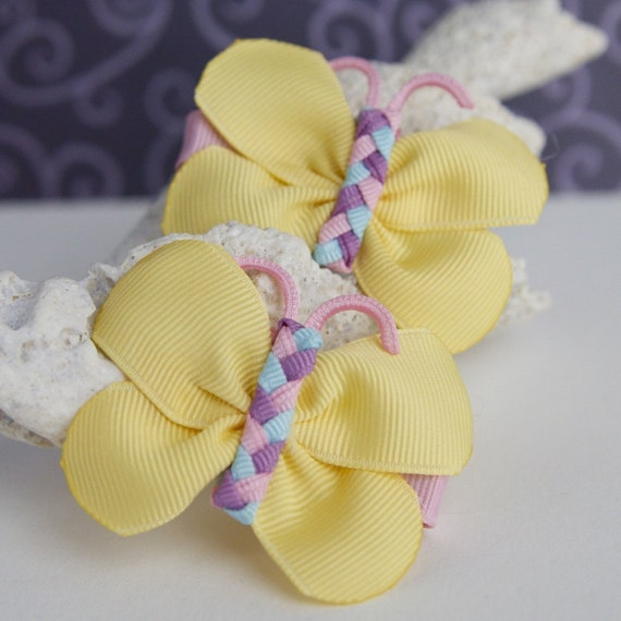 Spring Butterfly Hair Bows- Cute Pigtail Bows