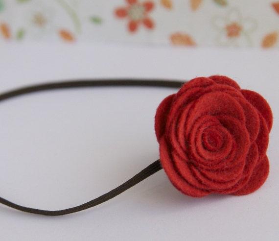 Emma Felt Flower Headband in Strawberries and Chocolate