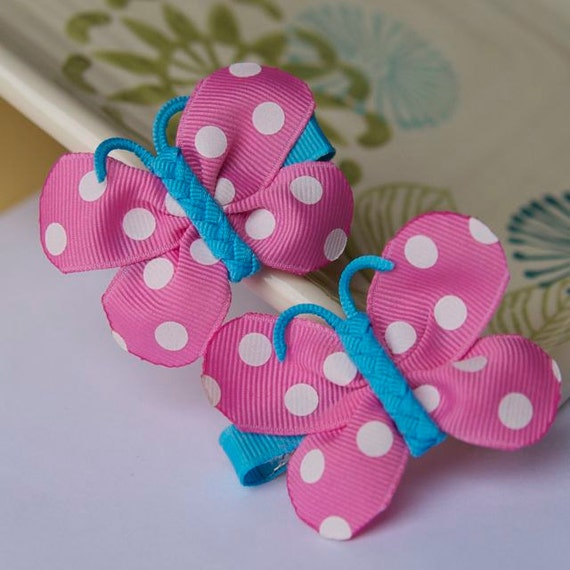 Bright Pink and Blue Polka Dot Butterfly Bows