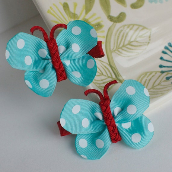 Aqua Turquoise and Red Polka Dot Butterfly Bows- Ribbon Sculpture Hair Clips