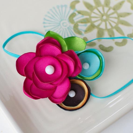 Hawaiian Luau Bright Flower Cluster Headband- Bright Pink, Green, Aqua, Brown, and Orange