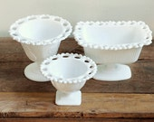 Vintage Milk Glass Lace Edge Planter & Compotes - Set of 3