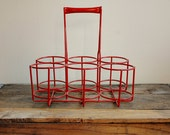 Vintage Bottle Holder - Red w/ Handle