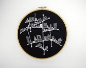 Black and White Hand Embroidered Constellation City 8 inch Embroidery Hoop Fiber Art by SometimesISwirl