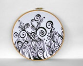 Swirl Movement - OOAK Original Black and White Fiber Art 10 inch Embroidery Hoop - Drawing on Fabric