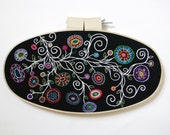 Hand Embroidery OOAK Black, White & Rainbow Swirling Flowers Oval Hoop Art 15x8 inch - Embroidered Fiber Art