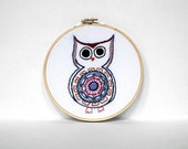 50% OFF - Owl Embroidery Hoop - Adorable Colorful Bird with Big Black Charming Eyes and a Fancy Circle Belly - 6 inch Embroidery  Hoop Art