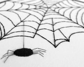 Spooky Spider Web in Black and White Perfect for a Halloween Wall Hanging Decoration - 8 inch Embroidery Hoop Art