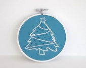 "RESERVED FOR RACHEL - Hand Embroidered White and Blue Christmas Tree - 4"" Hoop"