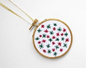 """Red, Green and Gold Embroidery Hoop Christmas Ornament with Tiny Stars- Winter & Holiday Decoration 3"""" Hoop"""