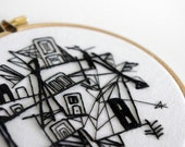 Embroidery Illustration - Chaotic City in Black and White - 4 inch Hand Embroidered Hoop Original Fiber Art