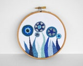 50% OFF - On SALE - Embroidered Flower Garden in Blues 5 inch Embroidery Hoop Wall Art by SometimesISwirl