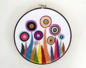 Embroidered Flower Garden in Rainbow Colors 7 inch Embroidery Hoop Wall Art by SometimesISwirl