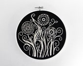 Embroidered Art in a Hoop, Black and White Floral Design - 6 inch Embroidery Hoop Fiber Art by SometimesISwirl