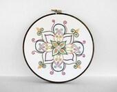Colorful Embroidery Hoop Art - Rainbow Mandala - 6 Inch Hand Embroidered Hoop Art