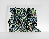 Swirl Art in Blue, Green and Brown - Original Archival Ink Pen Drawing 8x10