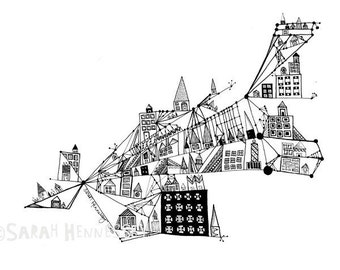 City Built on an Axis 8x10 Modern Abstract Black and White Illustration, Ink Pen Drawing Print