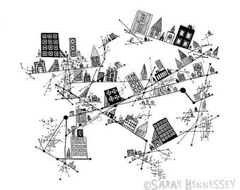 Constellation City 11x14 Black and White Print, Based on my Ink Pen Line Drawing