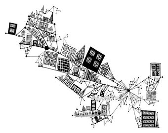 City On a Slanted Axis 8x10 Black and White Print from my Ink Pen Drawing. Geometric House Art