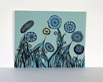60% OFF CLEARANCE SALE Flower Garden with Tangled Roots in Aqua, Teal, Blue and Yellow in 8x10 - Print of my Original Ink Pen Line Drawing