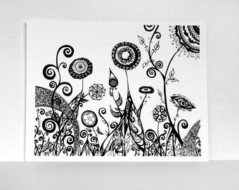 CLEARANCE SALE: 60% Off - Surreal Garden with Black Flowers 8x10 Print of Ink Pen Line Drawing, Abstract Illustration of Botanical Garden