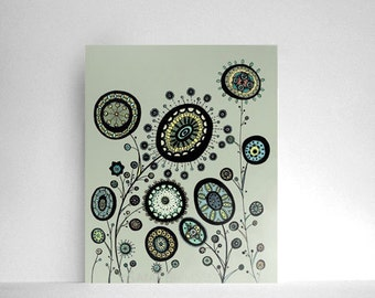 Garden Filled with Circle Flowers in Mint Green, Sage Green, Pale Sky Blue and Butter Yellow  8x10 Print