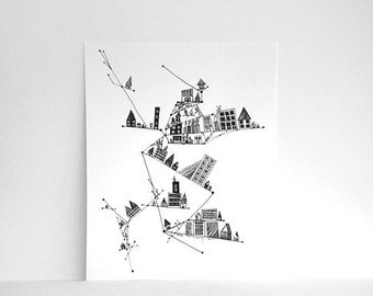 60% off CLEARANCE WALL ART - Tall City with Angles and Dots 8x10 Black and White Print. Abstract Pen Illustration of Houses On Sale
