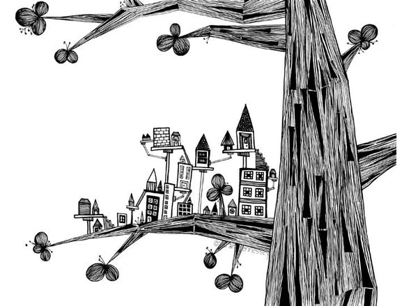 Black and White Ink Pen Drawing - The Tree With a Tiny City 8x10 FINE ART PRINT Perfect Whimsical Art for Nursery