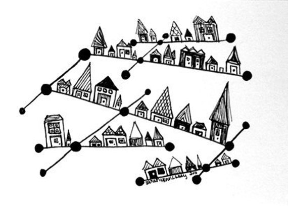 Black and White Art - Constellation City ACEO Original Archival Ink Pen Line Drawing