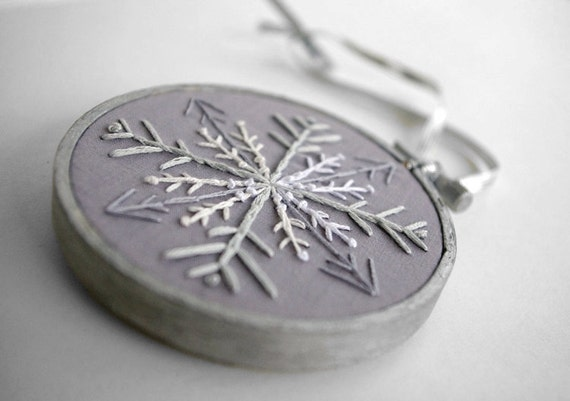 """Snowflake Embroidery Hoop Christmas Ornament with White, Grey and Silver - Winter Wonderland Holiday Decoration 3"""" Hoop"""