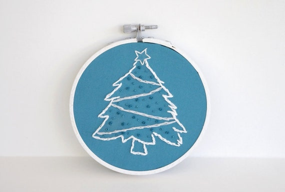 """RESERVED FOR RACHEL - Hand Embroidered White and Blue Christmas Tree - 4"""" Hoop"""