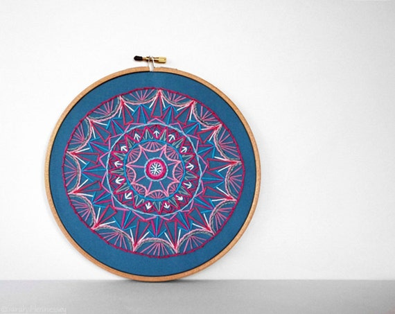 Abstract Teal and Pink Symmetrical Circle Mandala  8 inch Embroidery Hoop Art