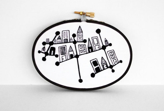 Embroidered Constellation City in Black and White 5x4 inch Oval Embroidery Hoop Fiber Art by SometimesISwirl