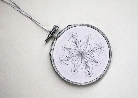 "RESERVED FOR TAKEYCE - Silver Snowflake Embroidery Hoop Christmas Ornament with White and Grey - Winter & Holiday Decoration 3"" Hoop"