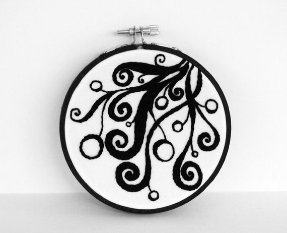 Hand Embroidery, Abstract Black Swirls and Circle Pods, 4 inch Black and White Hoop Art