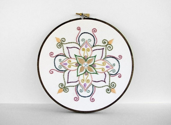 Colorful Embroidery Hoop Art - Rainbow Mandala - 6 Inch Hand Embroidered Hoop Art