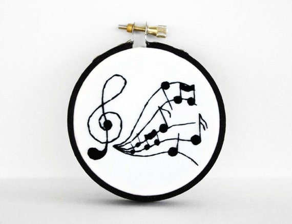 """Treble Clef and Musical Notes Embroidery Hoop in Black and White,  3"""" Hoop For The Home"""