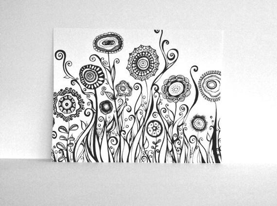 Swirling Flower Garden 11x14 Black and White Print