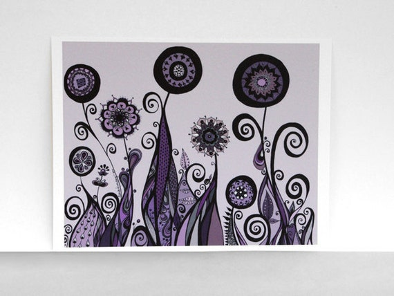 Lavender, Plum, Black and Gray Abstract Flower Garden 8x10 Archival Ink Print