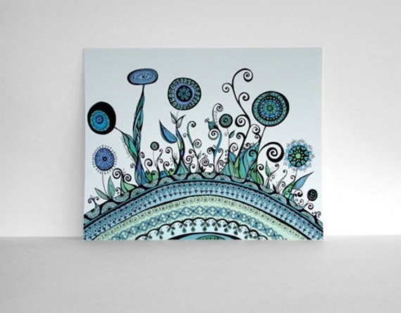 The Earth and her Flowers in Sky Blue and Mint Greens Print 8x10