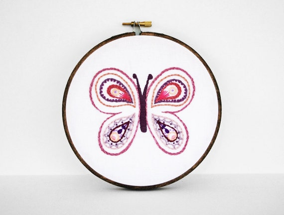 Embroidered Butterfly in Rose Pink, Purple, Mauve, Lavender, Peach, Lilac - 6 inches Hand Embroidery for Nursery or Little Girls Room