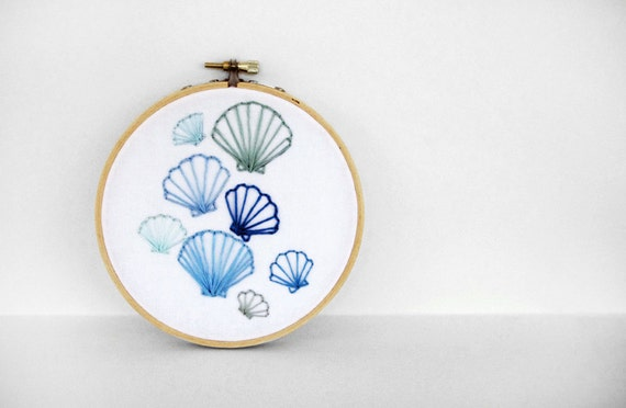 Embroidered Scallop Seashells in Ocean Blue, Moss Green, and Sky Blue - 5 inch Embroidery Hoop Fiber Art