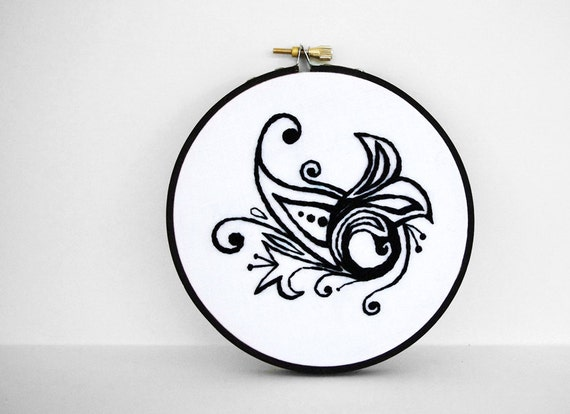 50% Off, CLEARANCE SALE, Abstract Black and White Swirl Design, 4 inch Embroidery Hoop Art, Mehndi-Inspired