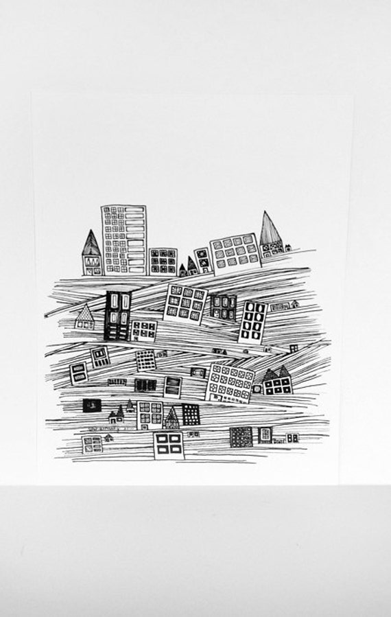 City Stuck In The Flood 8x10 Black and White Art Print