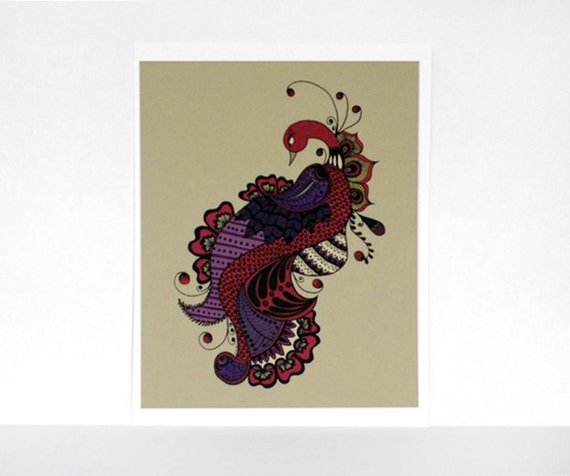 Mehndi-Inspired Peacock in Red, Purple and Gold 8x10 Print - Intricate Ornate Bird Illustration