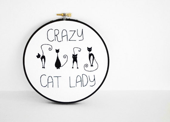 50% OFF SALE - Crazy Cat Lady with Four Black Cats with Swirly Tails, 6 inch Embroidery Hoop Fiber Art