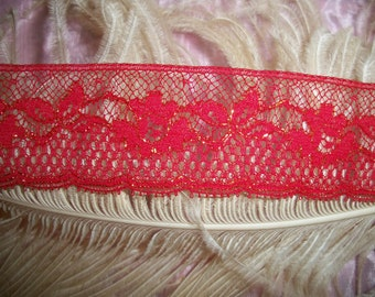 Vintage 1940s Antique Red Lace 1 and 1/2 Yards