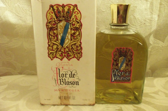 RESERVE    Vintage RARE 1937 Flor de Blason Myrurgia Cologne Commercial Bottle Made in Spain 15.5oz