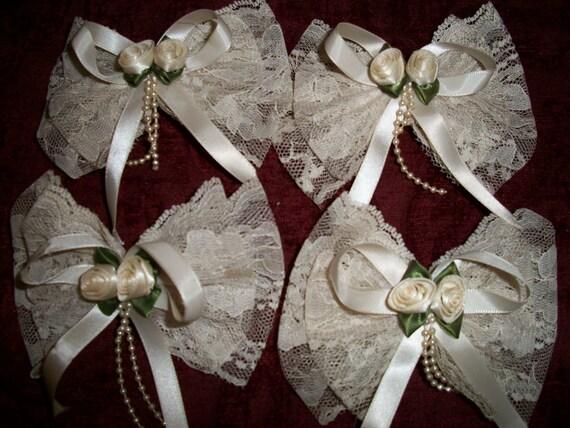 Vintage 80s Wedding Lace Satin Rosette Hair Clips set of 4