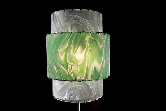 RETRO MODERN LAMPSHADE - Green Chrome and Cloud Swirl vinyl shade - 3-tier round